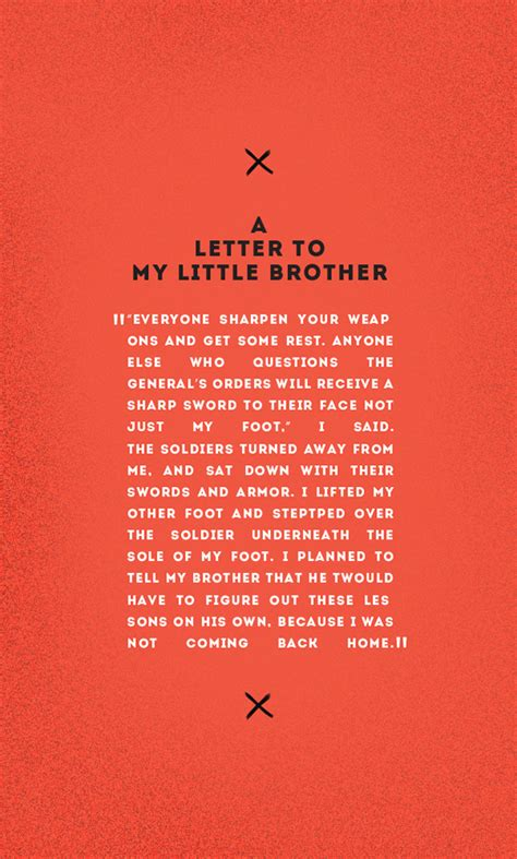 A Letter To My Brothers