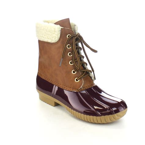 womans duck boots axny 3 s two tone lace up ankle duck