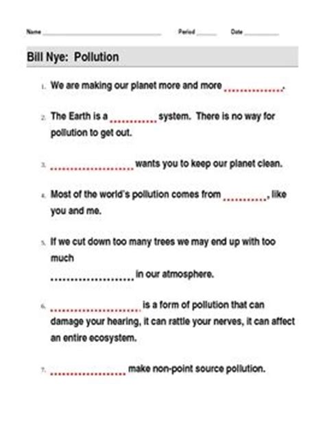bill nye storms worksheet bill nye pollution guide sheet bill nye worksheets and students