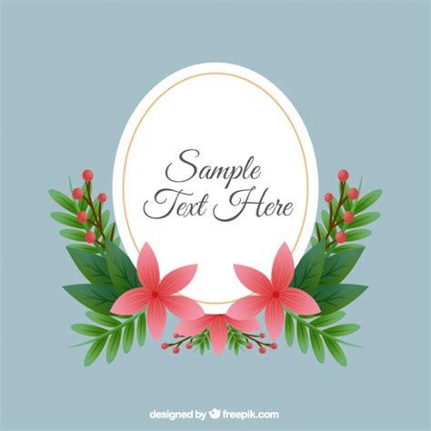 design bolder bunga vintage oval frame with flowers vector free download