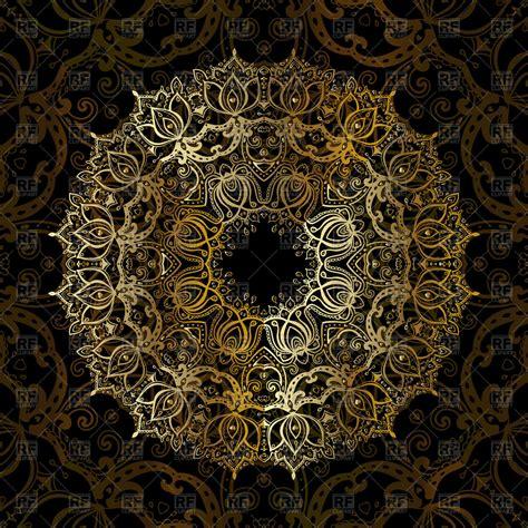 gold vintage pattern background gold mandala on black background ethnic vintage pattern