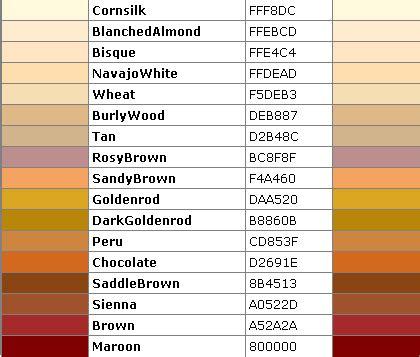 color code for brown daftar nama html color code lengkap situs gratisku