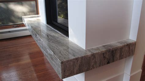 granite slab fireplace suspended hearth miter joined