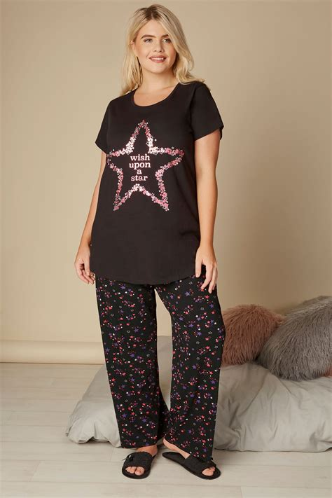 Napoclean Strong By Nry Fashion black print pyjama bottoms plus size 16 to 36