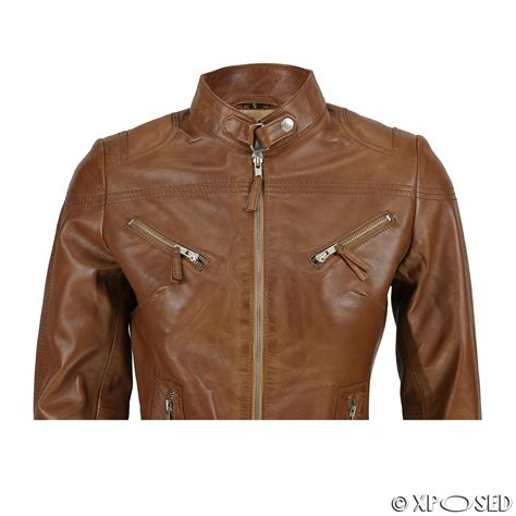 ladies brown leather biker ladies women s real leather vintage fitted tan brown biker