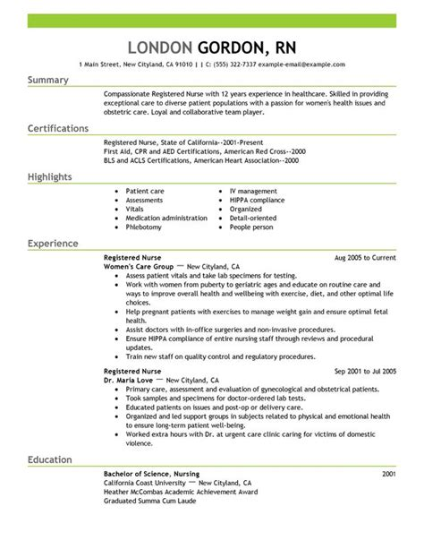 Nursing Resume Format Free Unforgettable Registered Resume Exles To Stand Out Myperfectresume