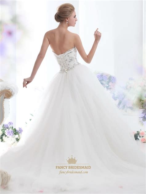 fully beaded bodice wedding dress ivory strapless tulle silver beaded bodice gown