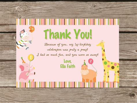 Thank You Note For Birthday Gift Card Sweet Safari First Birthday Thank You Card Printable
