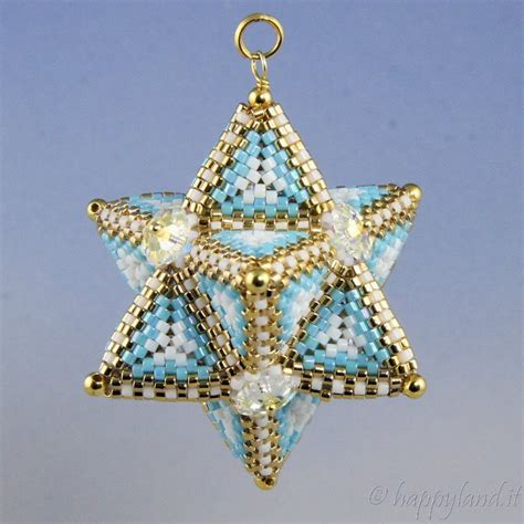 pattern beaded christmas ornaments tetrahedron star claudia cattaneo le gioie di