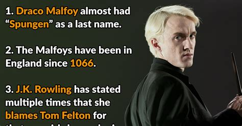 proud facts  draco malfoy