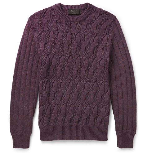 cotton cable knit sweater berluti cable knit m 233 lange cotton sweater in purple for
