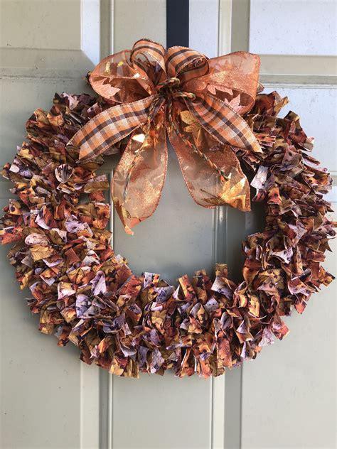 fall rag wreath harvest front door decorations rustic