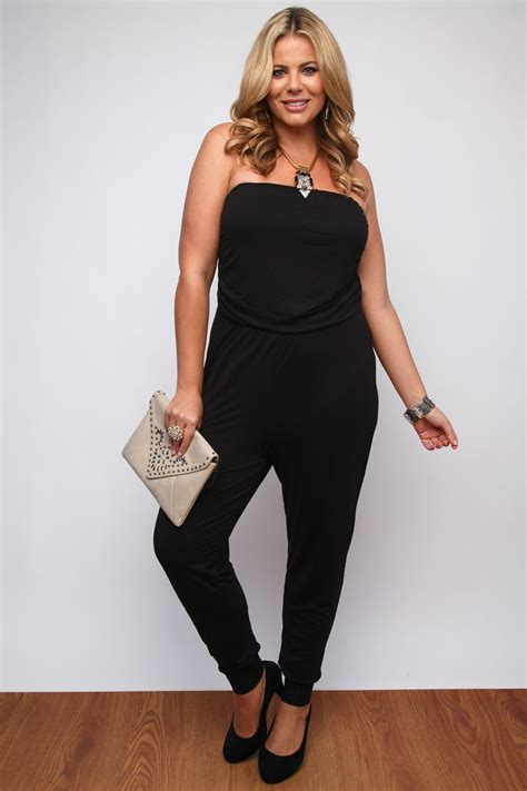 Jumpsuit Anak Size Xl 24 black jersey strapless jumpsuit with ruching detail plus size 16 18 20 22 24 26 28 30 32