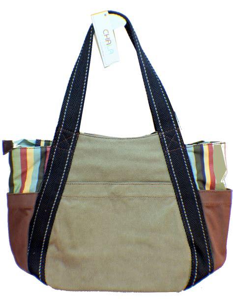 Canvas Carryall chala purse handbag leather canvas carryall zip tote bag