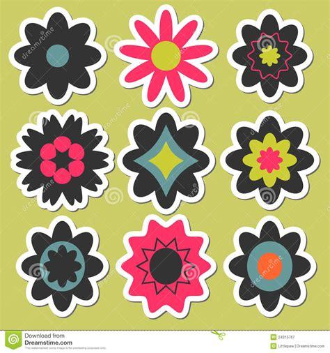 flower design for scrapbook flower stickers for scrapbook stock vector illustration