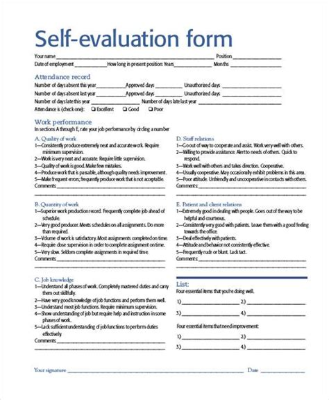 8 self evaluation sle forms free sle exle
