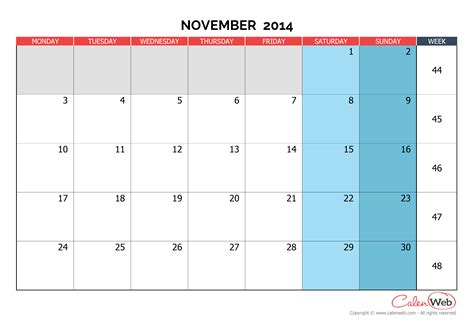 printable month calendar november 2014 monthly calendar month of november 2014 the week starts