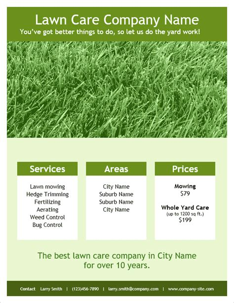 free printable lawncare card templates lawn care flyer template for word