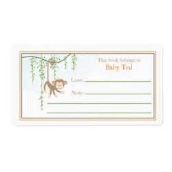 monkey bookplate custom shipping label zazzle