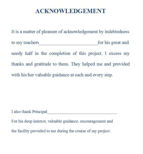 Acknowledgement Letter Sle For School Project Acknowledgement Dissertation