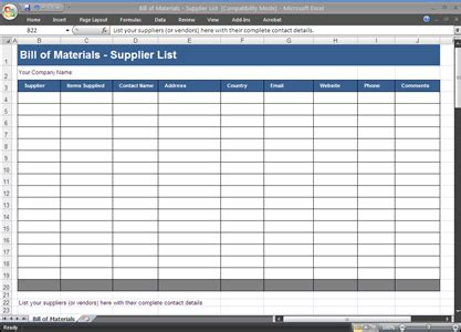 material list template bill of materials bom template