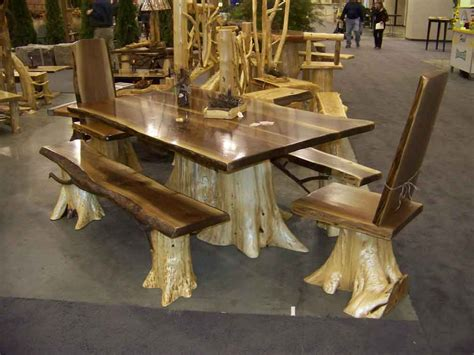 Walnut Dining table   Log Furniture