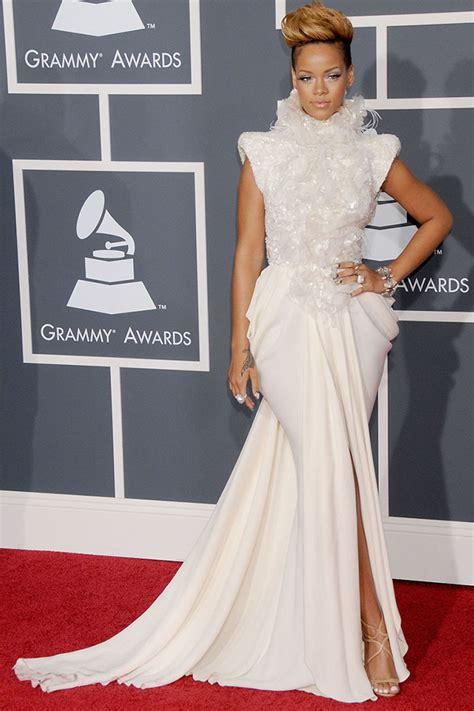 rihanna best dress rihanna grammys ruffled high neck white chiffon slit