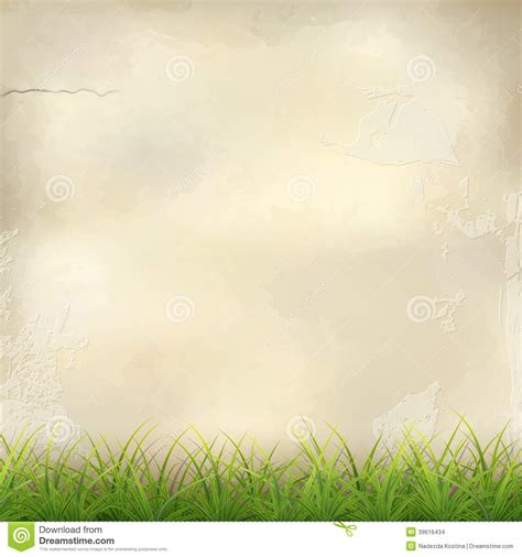 beige green green grass on plaster wall abstract background stock