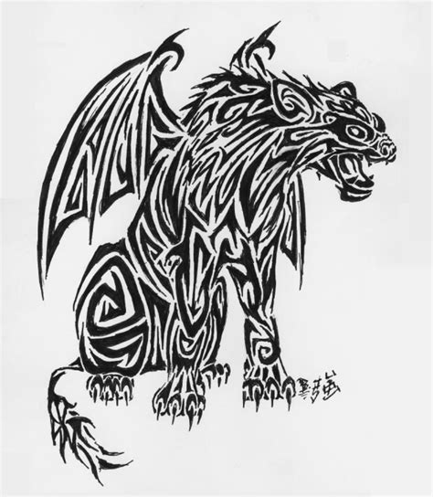 tribal gargoyle tattoo tribal hyena gargoyle by pucksgryn on deviantart