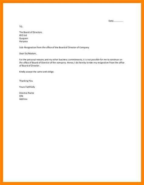 board directors resignation letter sample