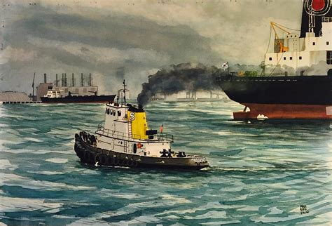 tugboat painting ta bay tugboat painting by mike king
