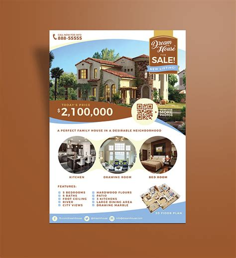free real estate house for sale flyer design template