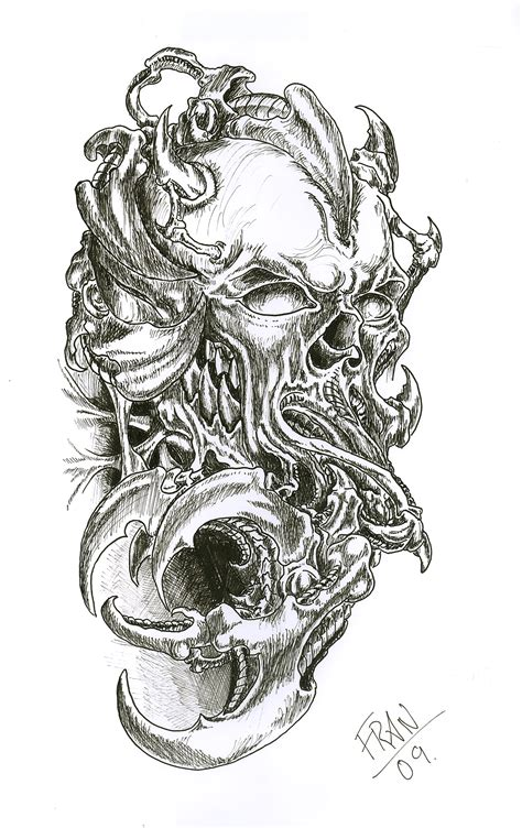 biomechanical skull tattoo design skull tattoos designs ideas page 32