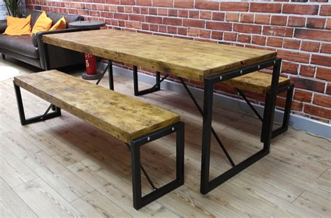 bench stores uk industrial dining set with steel frames and reclaimed wood