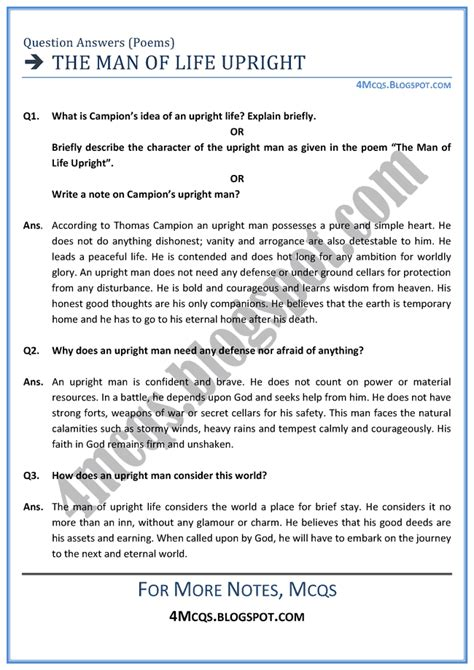 esl biography interview questions 4 mcq s english xii the man of life upright