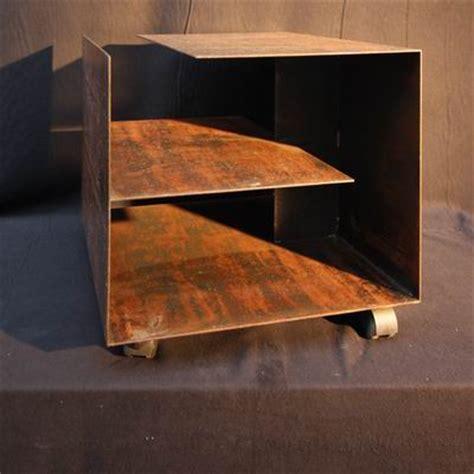 Rostige Stahlplatte Lackieren by Rollbarer Beistelltisch Aus Rostigem 3 Mm Stahl