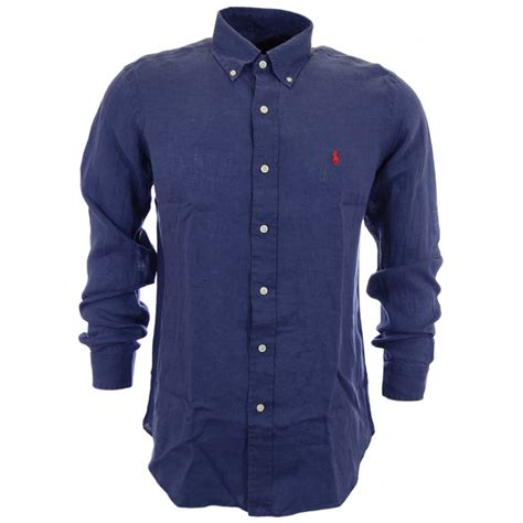 polo ralph custom fit plainweave linen navy shirt