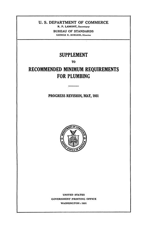 Plumbing Revision by Supplement To Recommended Minimum Requirements For Plumbing Progress Revision May 1931