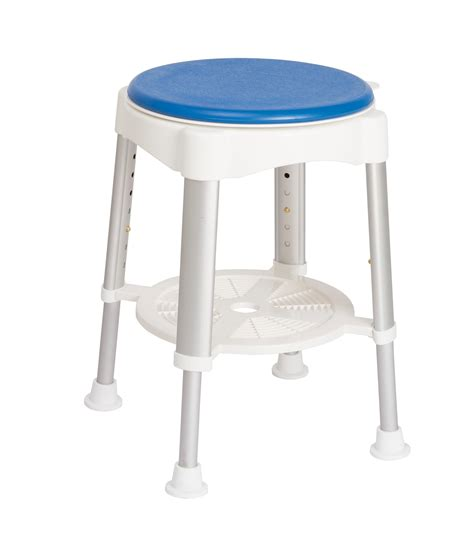 russka shower stool with soft swivel seat and storage
