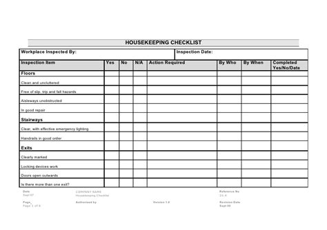 housekeeping application exle 20 4 housekeeping checklist