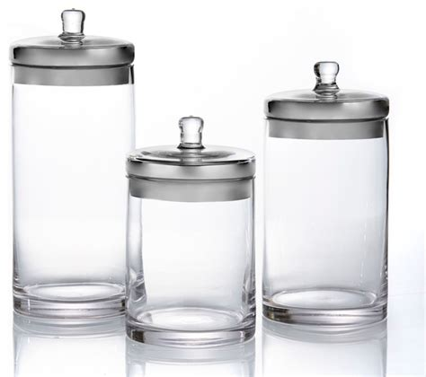 Silver Kitchen Canisters | glass canisters with silver lids set of 3 contemporary