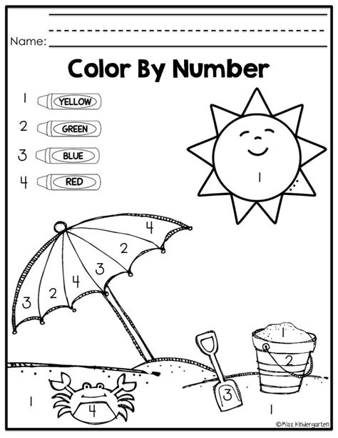 fun color by number coloring pages fun summer practice for incoming kinders color by number