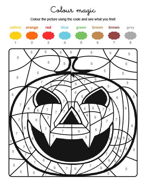 imagenes halloween ingles colour by numbers una supercalabaza de halloween