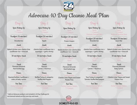 The 10 Day Detox Diet by Advocare 10 Day Cleanse Meal Plan A Meal Plan For The