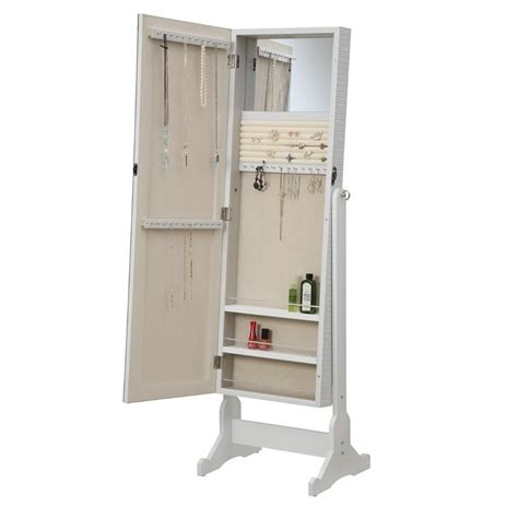 coaster jewelry armoire accent mirror in white 901827ii