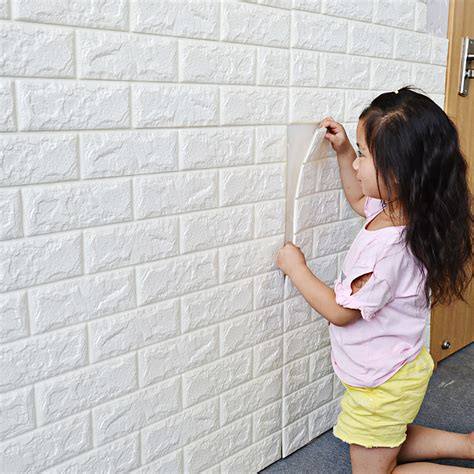 gliving white brick  wall panels peel  stick  wall