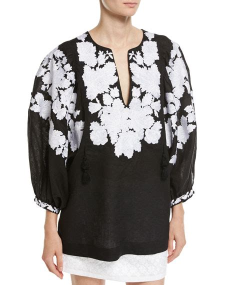 Blouse Dean Puff Linen vita kin floral embroidered puff sleeve linen blouse and matching items