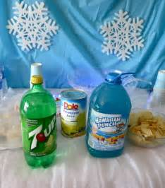 Outdoor Bridal Shower Games - blue party punch with snow