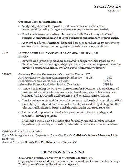 resume leadership section resume exles project management and team leadership