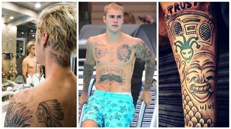 justin bieber s tattoos 2017 youtube